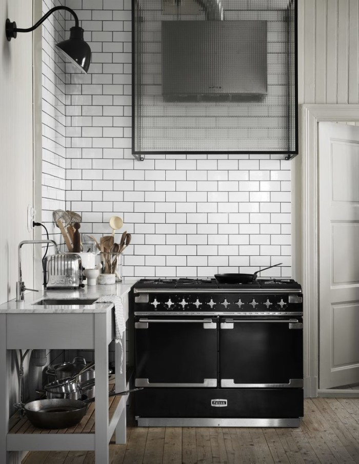Falcon stove in the kitchen that Christian and Björn had custom designed.