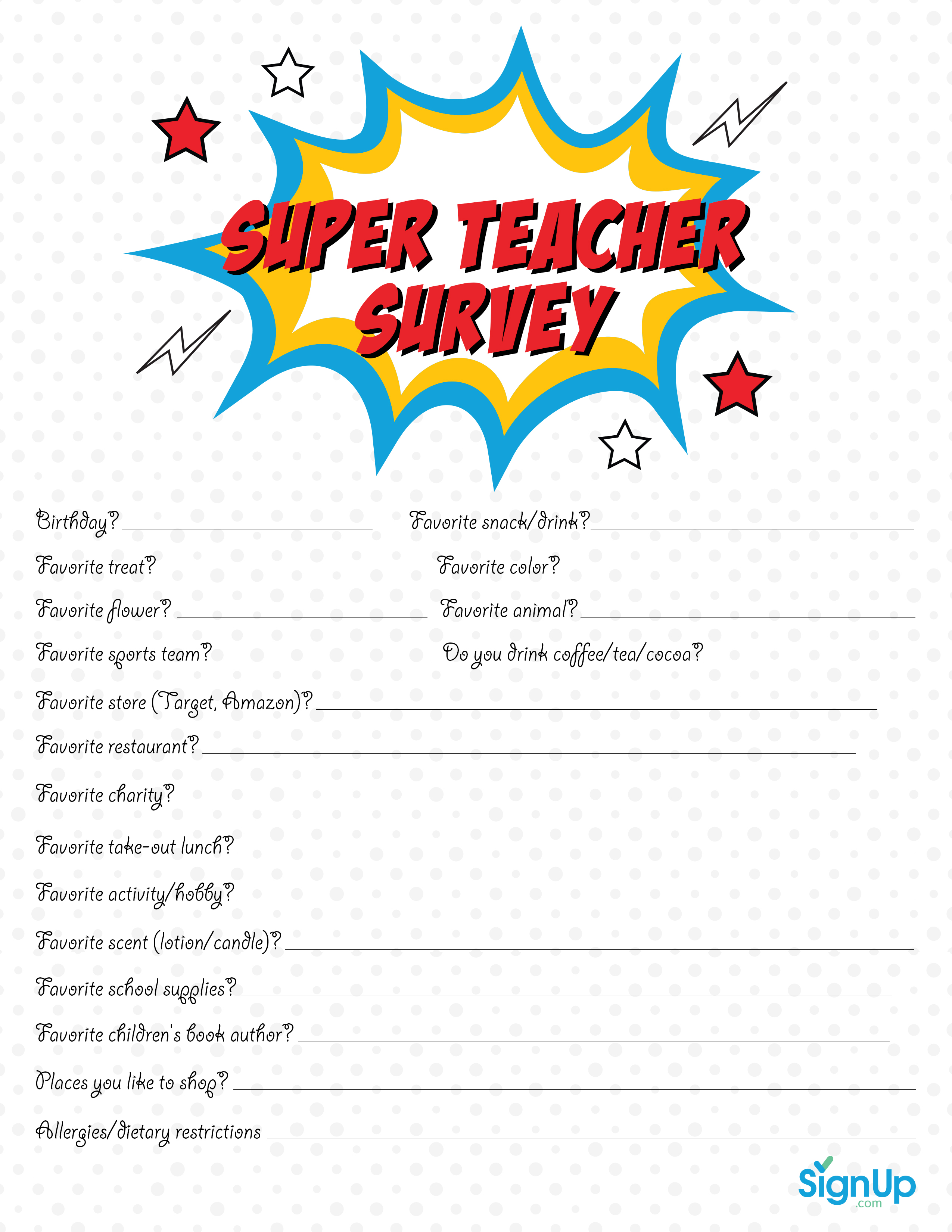 Teacher Survey Free Downloadable Room Parent Resource