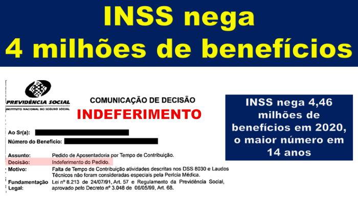 Mais de 4 milhões de benefícios negados pelo INSS