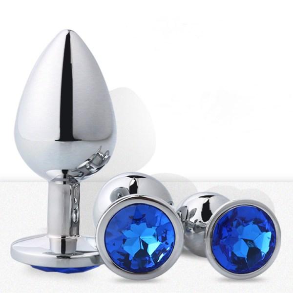 Analplug Set mit Kristal Blau Set