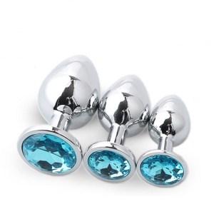 Analplug Set mit Kristal Türkis 01