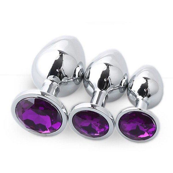 Analplug Set mit Kristal Violet 01