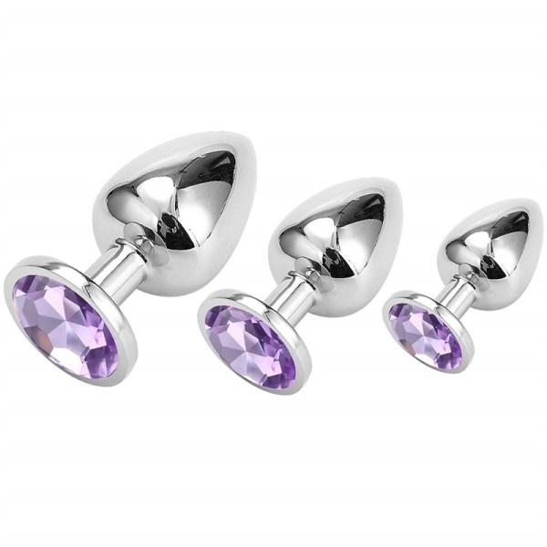 Analplug Set mit Kristal Violet Hell 01
