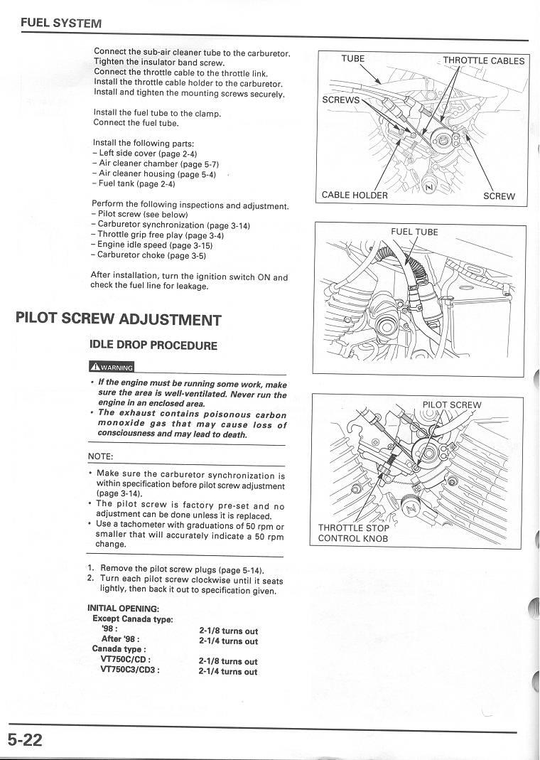 Honda Shadow 750 Carburetor Diagram : honda, shadow, carburetor, diagram, Adjusting, Mixture, Screws, VT750DC.com