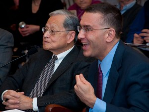 Photo of William Hsiao and Jonathon Gruber.