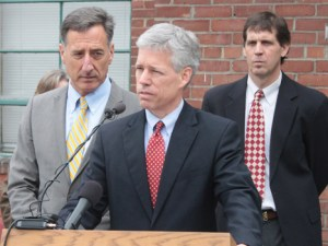 Montpelier Mayor John Hollar speaks at a press conference with Gov. Peter Shumlin, left. Photo by Taylor Dobbs