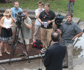 TJ Donovan speaks to the press about a new television advertisement paid for by a D.C.-based PAC. VTD Photo/Taylor Dobbs
