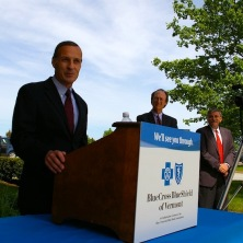 Blue Cross Blue Shield of Vermont CEO Don George speaks at the unveiling of a mental health services collaboration, called Vermont Collaborative Care, between Blue Cross and the Brattleboro Retreat on Tuesday, May 28, 2013. At right are Brattleboro Retreat President Rob Simpson, Brattleboro Retreat Vice President Peter Albert and BCBS Chief Medical Officer Robert Wheeler. Photo by Andrew Stein/VTDigger
