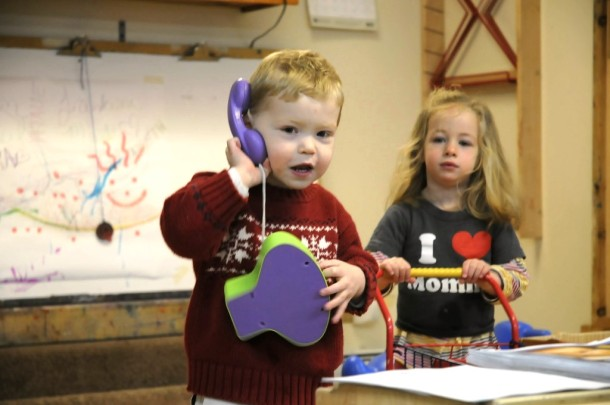 Braeden Schuren Burns (left) and Sophia Ridge (right) play at Turtle Island Children's Center in Montpelier, before a news conference announcing the 28th annual Trouble in Toyland report by Vermont Public Interest Group. Photo by Hilary Niles/VTDigger.