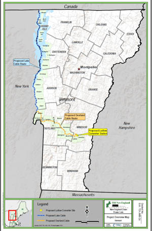 The route of a proposed transmission line under Lake Champlain.