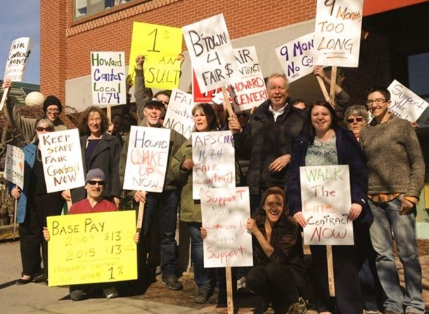 HowardCenter workers and supporters picket in Burlington on Thursday. Photo by Keith Brunner/Vermont Workers Center
