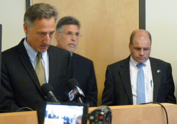 Gov. Peter Shumlin and chief of health reform Lawrence Miller attend a news conference at Vermont Health Connect headquarters in Winooski on Monday to announce that a key function of the state's health insurance exchange website is operational. Photo by Morgan True/VTDigger