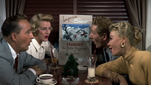 bing crosby rosemary clooney danny kaye and vera ellen sit around a vermont promotional poster in the 1954 movie musical white christmas - White Christmas The Movie