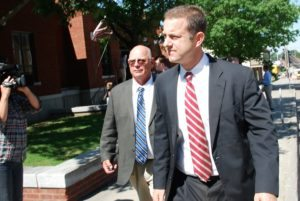Sen. Norm McAllister (left) and attorney Brooks McArthur left the Franklin County courthouse Thursday. Photo by Elizabeth Hewitt/VTDigger
