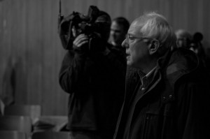 Sen. Sanders arrives at Montpelier High School. Photo by Josh Larkin.