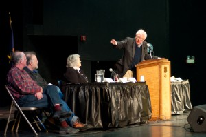 Sen. Sanders introducing panel members. Photo by Josh Larkin.