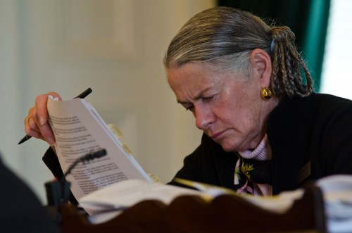 Sen. Alice Nitka (D-Windsor District) looks over documents prior to Thursday's floor discussion of H.202. VTD/Josh Larkin