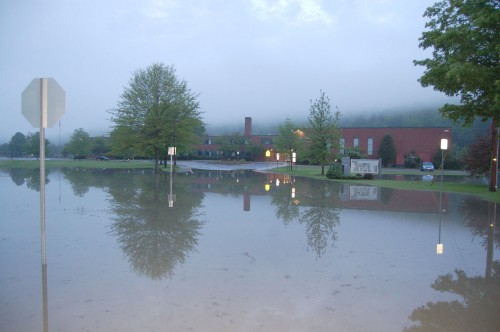 A small lake formed in front of Montpelier High School. Photo by Jerry Tillotson.