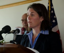 Anya Rader Wallack speaking to reporters on Tuesday. VTD/Josh Larkin