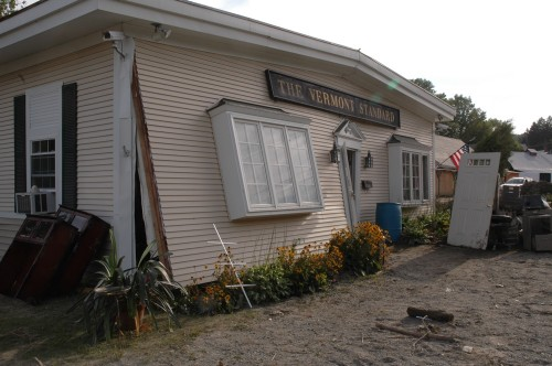 The offices of the Vermont Standard newspaper were devastated by the Sunday flooding. VTD/Andrew Nemethy
