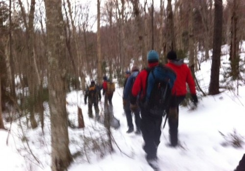 Photo 3 is also identified as having been taken by VSP Sgt. Patten on Jan. 10, 2012; it's the search team heading off into the woods.  VSP photo
