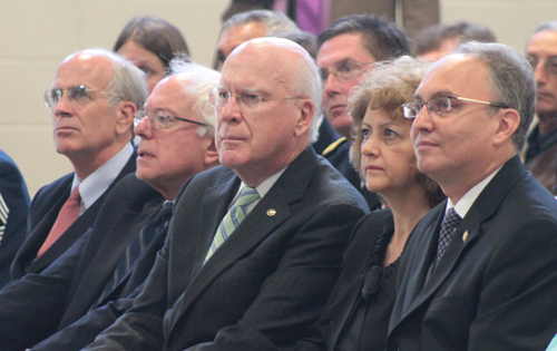 From left: Congressman Peter Welch, Senator Bernie Sanders, Senator Patrick Leahy and Zoran Jolevski, the Macedonian ambassador with his wife.