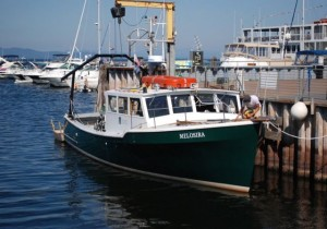 UVM's research vessel, the Melosira, docked at the ECHO Center. Photo by Audrey Clark