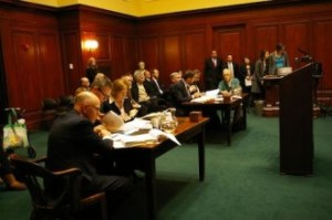 Entergy's legal team, left, and New England Coalition attorneys appear before the Vermont Supreme Court. Photo by Andrew Stein