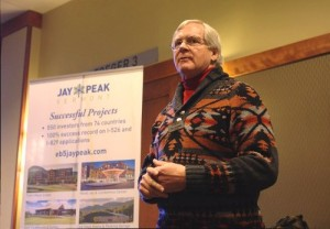 Bill Stenger, owner of Jay Peak and Burke Mountain resorts, shows lawmakers plans for development in the Northeast Kingdom on Tuesday at Jay Peak.