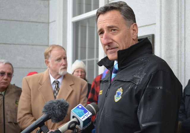 Gov. Peter Shumlin speaks at a press conference. Photo by Alicia Freese