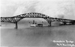 When the Lake Champlain Bridge opened in August 1929 it broadcast the greater possibilities of steel bridge construction and demonstrated a growing concern with the aesthetics of engineered structures. It also helped launch Americans' obsession with the automobile. Photo courtesy of the Vermont Historical Society