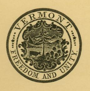 A version of the state seal as found on a proclamation issued by Gov. John G. McCullough on March 21, 1903. Photograph courtesy of State of Vermont Archives.
