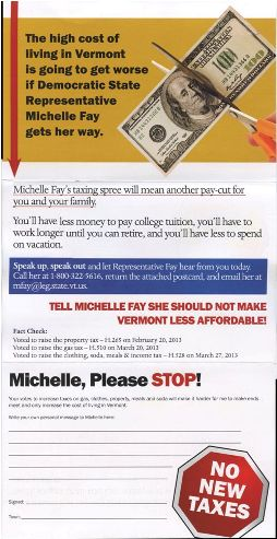 A mailing to a constituent of Rep. Michelle Fay from Vermonters First.