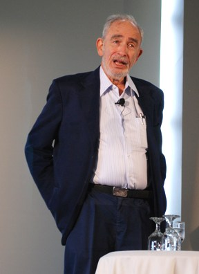 Paul Ehrlich spoke about the collapse of civilization due to environmental problems on Tuesday, April 30, 2013, at the University of Vermont. Photo by Audrey Clark