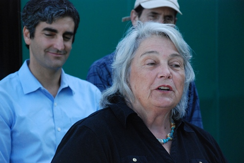"""Sen. Virginia """"Ginny"""" Lyons, D-Chittenden, made the opening remarks at Wednesday's news conference at the Ben and Jerry's corporate headquarters in South Burlington to call for state action on climate change. Behind her is Burlington Mayor Miro Weinberger. Photo by John Herrick/VTDigger"""