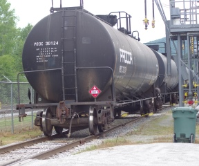 Tanker cars rest at a propane transfer station in Berlin. Photo by Tom Brown/VTDigger