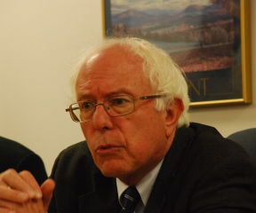 Sen. Bernie Sanders, chairman of the Senate Committee on Veterans' Affairs, spoke on veterans' health care at his offices in Burlington on Monday, Aug. 19, 2013. Photo by John Herrick/VTDigger
