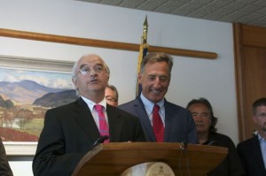 Bill Sorrell, Vermont Attorney General, left, and Gov. Peter Shumlin talk to reporters after Entergy announced it will be closing Vermont Yankee. Photo by Viola Gad