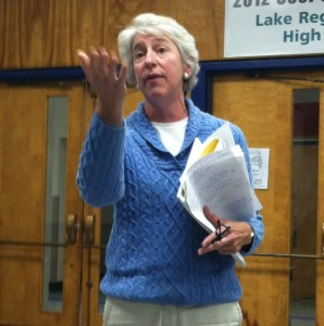 Rep. Alison Clarkson addresses a crowd at a special public hearing on the Current Use program Tuesday night. Photo by Hilary Niles/VTDigger