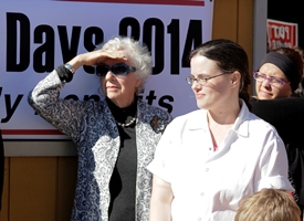 Former Gov. Madeleine Kunin waits to speak at a news conference outside Red Hen Bakery in Middlesex. Photo by Viola Gad/VTDigger