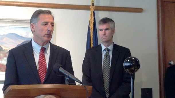 Gov. Peter Shumlin and Department of Vermont Health Access Commissioner Mark Larson field questions about the state's new health care exchange Thursday in Montpelier. Photo by Andrew Stein/VTDigger