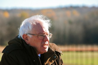 Sen. Bernie Sanders, I-Vt, announced the state's partnership with Sandia National Laboratories during a news conference at the site of a new solar energy test center on IBM's Williston campus Monday. Photo by John Herrick/VTDigger