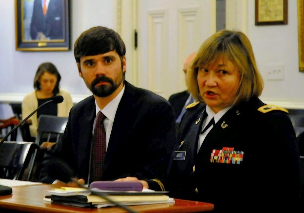 Col. Ellen Abbott, chief legal counsel for the Vermont National Guard, and Cameron Wood, an intern in the office of Legislative Council, attend a hearing to discuss a report on sexual assaults in the Guard. Photo by Hilary Niles/VTDigger