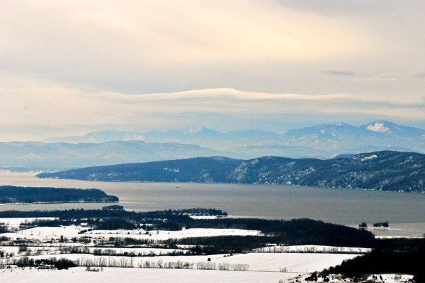 Lake Champlain's frosty shoreline in Charlotte. Photo by John Herrick/VTDiger
