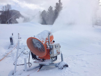 A computerized system pumps about 600 gallons of water per minute to make snow at Q Burke Mountain before the season opens. Photo by Hilary Niles/VTDigger.