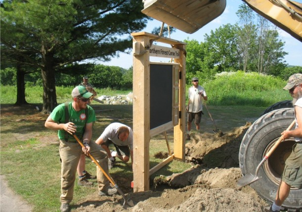 A NFCT work crew puts up an interpretive kiosk in Davis Park near the Missisquoi River in Richford. Furnished photo.