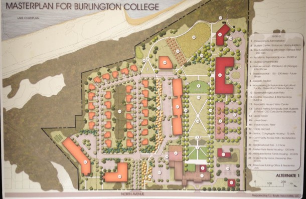 Plans for a proposed housing development on land owned by Burlington College.