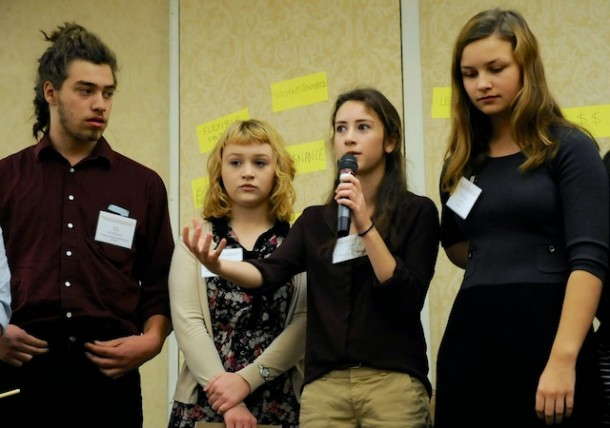 Students took the stage for a panel presentation at the education summit to share what they had learned, as well as their insights about moving forward. Photo by Hilary Niles/VTDigger