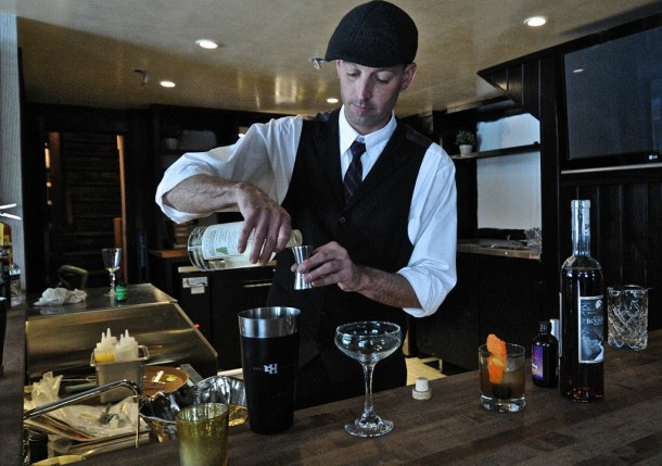 Don Horrigan, the bar chef at Edson Hill in Stowe, prepares to make a cocktail in the resort's bar. Photo by Dirk Van Susteren