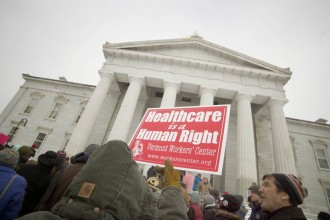 """The Vermont Workers Center founded the """"Healthcare is a Human Right"""" campaign in 2008. Photo by John Herrick/VTDigger"""